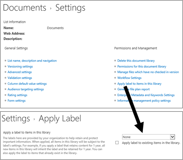 """Прилагане на опцията """"етикет"""" на страницата за настройки на библиотеката"""