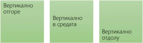 Три вертикални опции за подравняване на текст: горе, в средата и отдолу