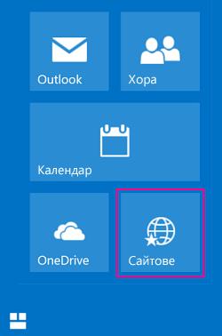 """Изберете плочката """"Сайтове"""", за да видите списък на сайтовете на SharePoint"""