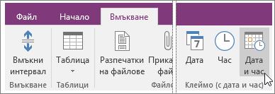 Екранна снимка на бутона за дата и час в OneNote 2016.