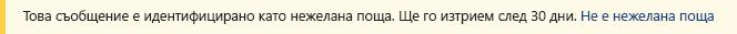 Екранна снимка на жълтата лента за безопасност в съобщение на Outlook.