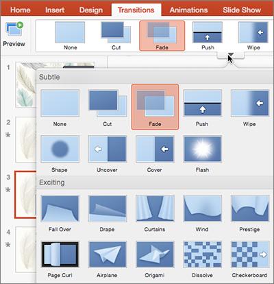 Изберете слайда, към който искате да добавите преход, в екрана с миниатюри