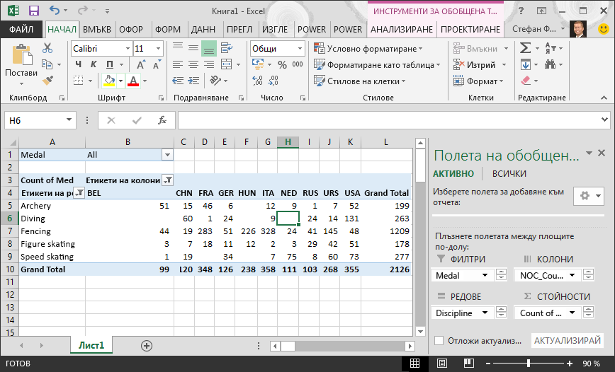 актуализирана обобщена таблица