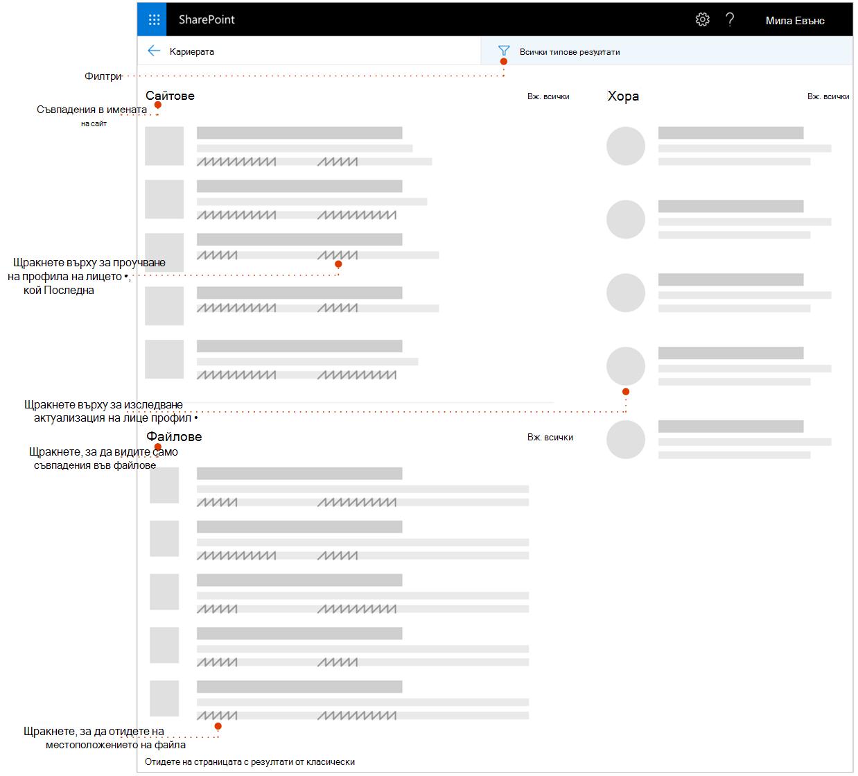 Екранна снимка на търсене с резултати от страницата с указатели към елементи за изследване.
