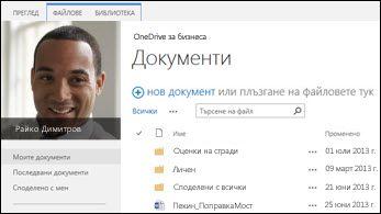 OneDrive за бизнеса в SharePoint 2013
