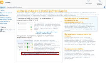 """щракнете върху връзката """"започнете да използвате услугите на performancepoint"""", за да отворите шаблона за сайт на performancepoint"""