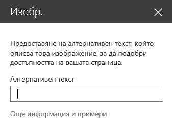 Екранна снимка на диалоговия прозорец за алтернативен текст на изображение в SharePoint.
