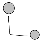 Показва съединител, съставен в ръкопис между два кръга.