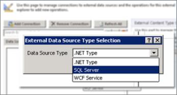 Екранна снимка на диалоговия прозорец ''Добавяне на връзка'', в който можете да изберете тип източник на данни. В този случай типът е ''SQL Server'' и може да бъде използван за свързване с SQL Azure.