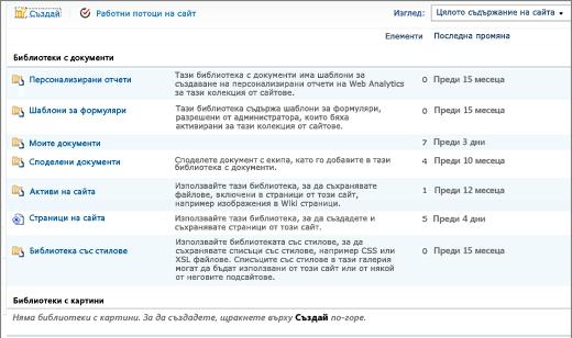 Съдържание на сайт на SharePoint 2010 на всички страници