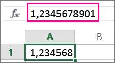 Числото се показва закръглено в работния лист, но е пълно в лентата за формули