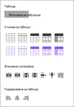 Опции за вмъкване на таблица