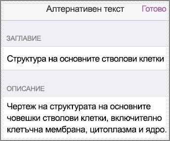"""Диалогов прозорец """"Алтернативен текст"""" в iPhone."""