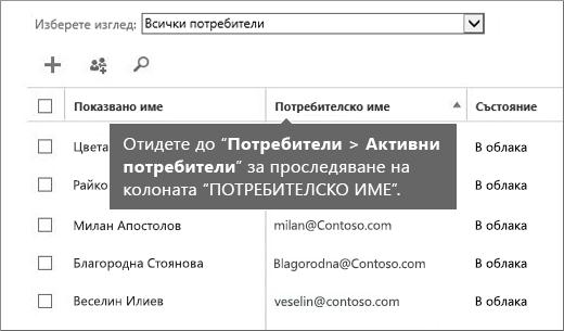 """Колоната """"Потребителско име"""" в центъра за администриране на Office 365"""