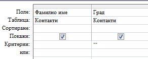 конструкторът на заявки с критерий за показване на записи с празно поле за стойност
