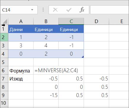 Пример 2 – MINVERSE