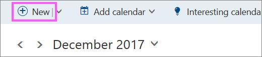 Екранна снимка на бутона за ново събитие в календара.