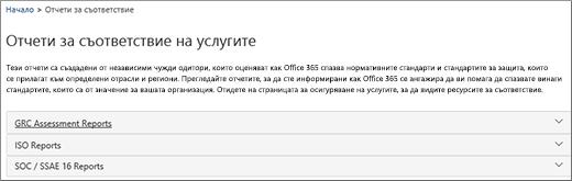 Показва страницата за осигуряване на услугите: Отчети за съответствие на услугите.