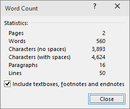 Показва броя на думите и броя на страниците в документ.