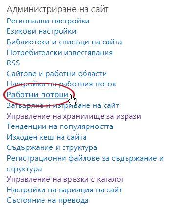 Връзката ''Работни потоци'' под заглавието ''Администриране на сайта''