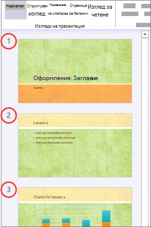 Номера на страници за слайдове в нормален изглед