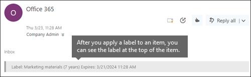 Етикет, възложени на имейл в Outlook в уеб