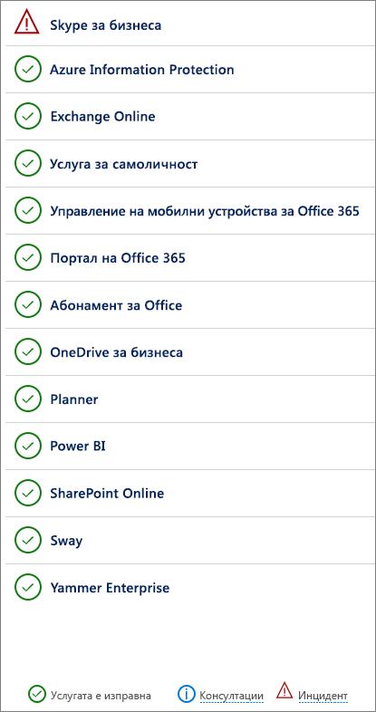 Страницата за изправност на услугите, показваща услуги, които имат инциденти и препоръки.