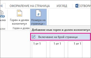 изображение на квадратчето за отметка за избор на включването на броя страници с номерата на страниците в документ (страница x от y).