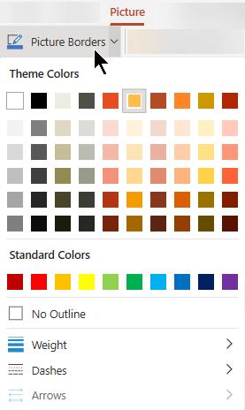 Менюто с граници за картини има опции за цвят, дебелина и стил на линия.