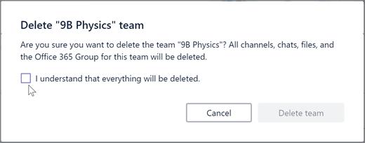 Потвърждение за изтриване в Microsoft Teams