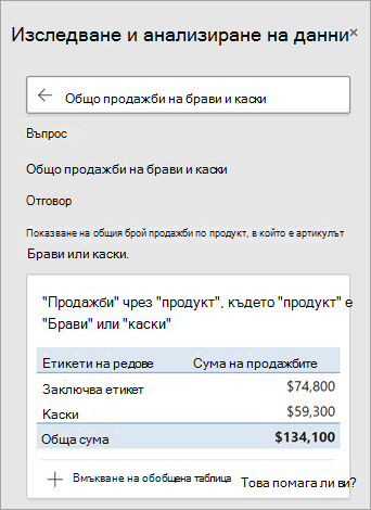 Идеи в Excel, които отговарят на въпрос за това колко брави или каски са продадени.