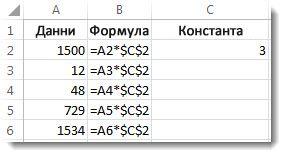 Числа в колона A, формула в колона B със знаци $ и числото 3 в колона C