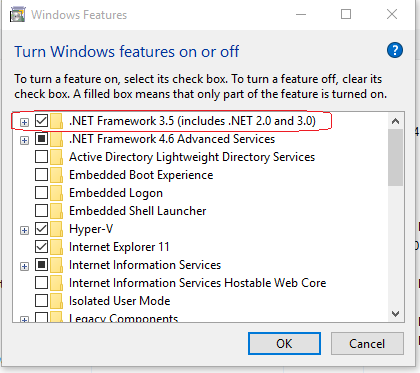 In the Select features window, click .NET Framework3.5 (includes .NET 2.0 and 3.0).