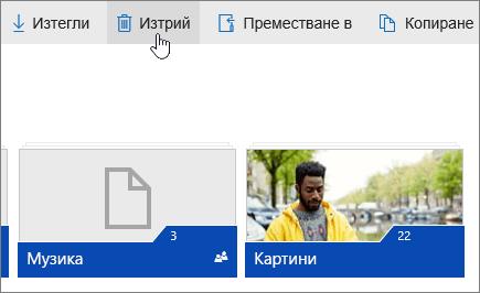 """Екранна снимка, показваща бутона """"Изтриване"""" в OneDrive.com."""