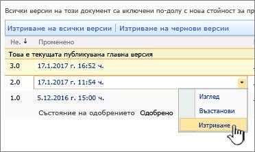 Падащ списък на версиите на файл с маркирана опция за изтриване