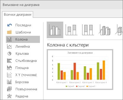 Показва избирането на колонна диаграма в PowerPoint