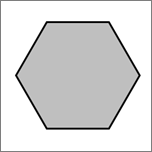 Показва шестоъгълник фигура.