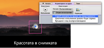 Скриване на иконата по време на слайдшоу