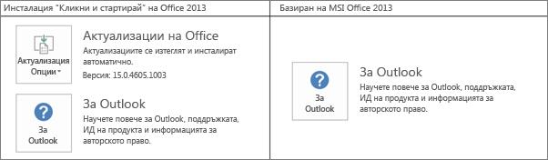"""Графика, която показва как да познаете дали дадена инсталация на Office 2013 е """"Кликни и стартирай"""", или е базирана на MSI"""