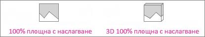 100% площна диаграма с наслагване и 3d 100% площна диаграма с наслагване
