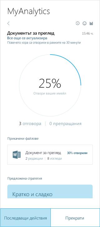 Екранна снимка на MyAnalytics резултати