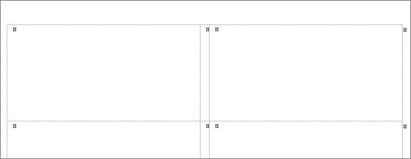 Word създава таблица с размери, които отговарят на избрания от вас етикет.