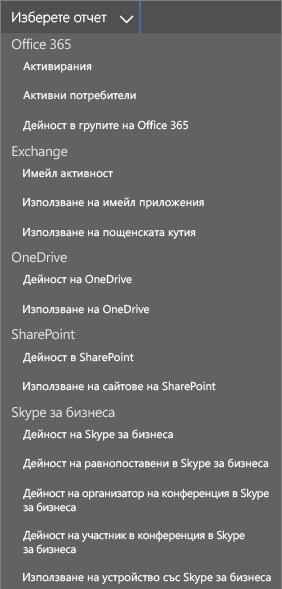 Office 365 – избиране на наличните отчети