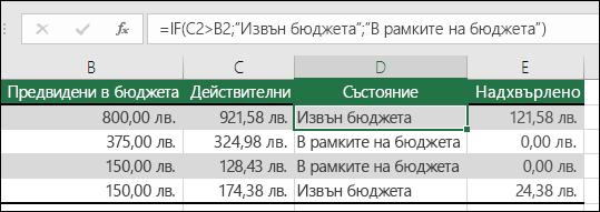 """Формулата в клетка D2 е =IF(C2>B2;""""Извън бюджета"""";""""В рамките на бюджета"""")"""