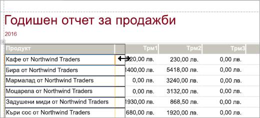 Програмен фрагмент на продуктов екран за годишен отчет за продажби