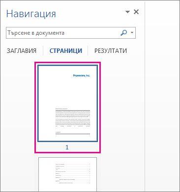миниатюри на страници от навигационния екран