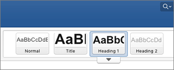 Екранна снимка на опции за стил на заглавие