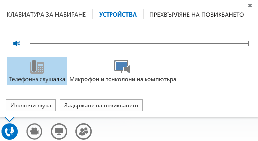Екранна снимка на контролите за аудиоразговор