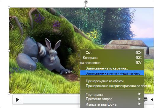 Слайд, съдържащ изображение и командата ' ' Запиши като картина ' ', избрана в контекстното меню