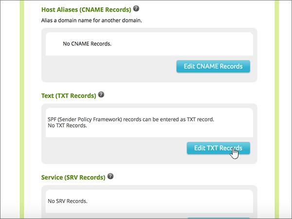 Щракнете върху Edit TXT Records
